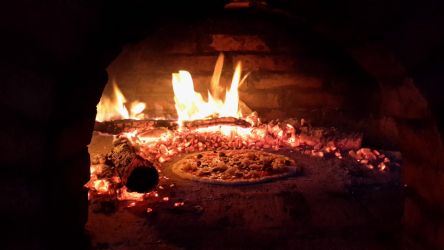 Wood oven fire pizza